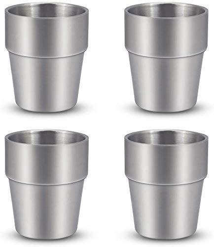 BeGrit 4er Set Tassen aus Edelstahl Doppelwandig Isoliert Metallbecher 10oz Stapelbar und unzerbrechlich Trinkbecher Randlos schweißfrei Bier Becher für Cocktails Kaffee, Tee, Smoothies