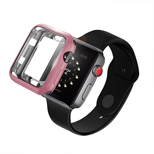 Gaddrt Housse de boîtier pour montre Apple Series 3, revêtement en TPU ultra-Slim housse de protection (Or rose, 42mm)