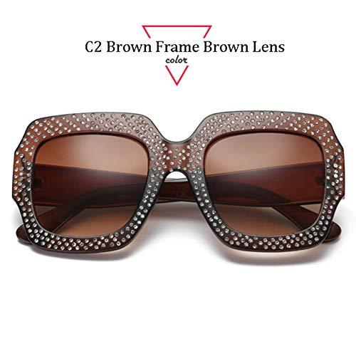 Kjwsbb Nieten Platz Frauen Sonnenbrille Retro Big Frame Sonnenbrille Frauen Vintage Shades Eyewear