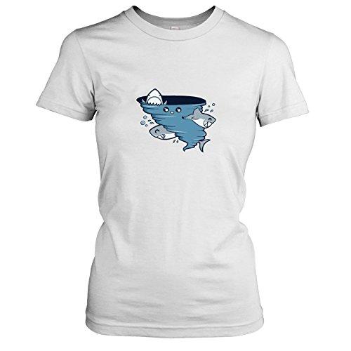 TEXLAB - Cute Shark Tornado - Damen T-Shirt, Größe XL, (Kostüm Shark Fin)
