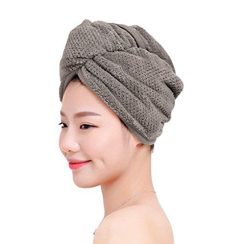 Dicke Mikrofaser Haartrockentuch Kopfhandtuch Kopftuch aus Polyester Haarturban Weiche Schnell Trocken Haar Handtuch mit Knopf