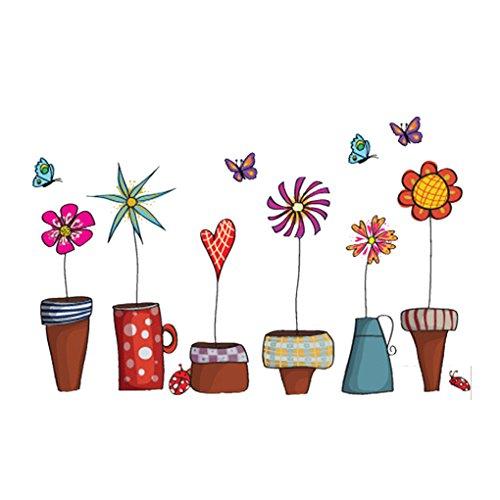Blumen-Schmetterlings-Aufkleber-Abziehbild-Fenster-Glas-Wand-Dekor Innovative Red 9 × 4,8 × 2,6 cm