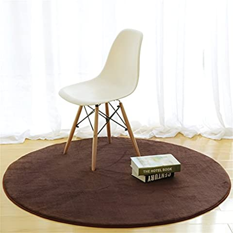 Runder Teppich im Schlafzimmer Wohnzimmer Couchtisch Bedside Home Solid Color Computer Stuhl Mat ( Farbe : Braun , größe : Durchmesser 60cm