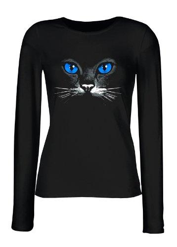Wunderschönes Damen Langarmshirt, Longsleeve mit schwarzer Katze! Blue eyes black cat Top Geschenk! Größe M Farbe schwarz