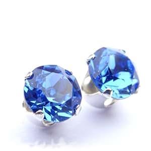 Silver stud earrings set with Sapphire blue SWAROVSKI crystal.