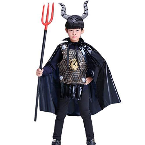 Keephen Halloween Kostüme Für Jungen Rüstung böse Flamme Dämon Kuh Umhang Für Kinder 4-14 Jahre Alt