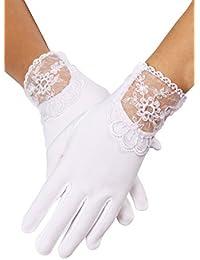 MGT-Shop Mädchen Kommunionshandschuhe Kommunionhandschuhe Blumenkinderhandschuhe U85S