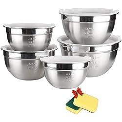 Edelstahl Schüssel Set - TUXWANG 5in1 Salatschüssel mit Deckel und abgestuften Messmarkierungen, stapelbar für bestmögliche Lagerung