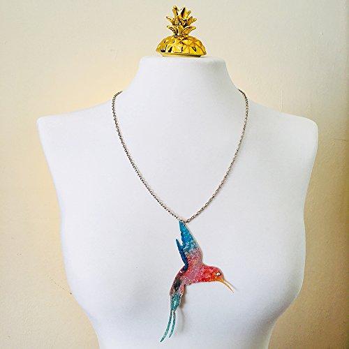 Kolibri-Halskette - Silberkette - Vogel mit hellen schillernden Auge - Farbliebhaber - Vögel Halskette - Kolibris Juwel - Geschenk für sie - Juwelen Tattoos