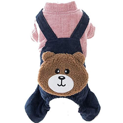 (GJFeng Niedliche Hundelätzchenwelpe Teddybärbärs Vierbeinige Kleidung Streicheln Kleine Hundewelpenkleidung Starke Herbst- Und Winterkleidung (Farbe : Blau, größe : XS (weight 0-1.5 kg)))
