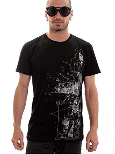 Herren T-Shirt mit Mune Ägyptische Gottheit Aufdruck - Schwarz - Large - handgefertigt durch Siebdruck Street Style Tee