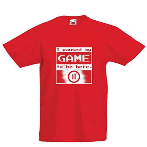 Lepni.me maglietta per bambini/ragazzi ho messo in pausa il mio gioco per essere qui camicia, regalo divertente (9-11 years rosso