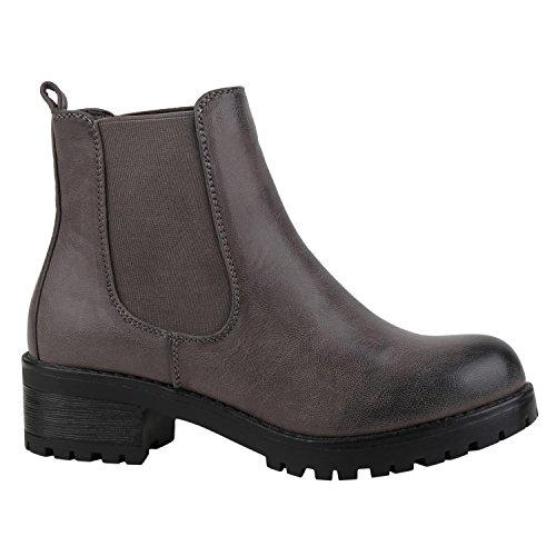 Stiefelparadies Gefütterte Damen Schuhe Chelsea Boots Plateau Stiefeletten Profilsohle 152425 Grau Arriate 37 Flandell