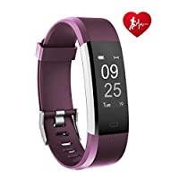 TOOBUR Fitness Tracker, Smart Watch Activity Tracker with Heart Rate Pedometer Calorie and Sleep Monitor, Waterproof Step Counter Wristband for Women Ladies and Kids - Purple