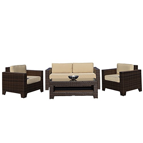 Cambridge outdoor rattan garden sofa set in brown all for All weather garden furniture
