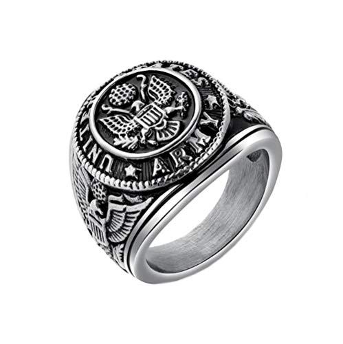 Women's Kostüm Eagles - PAMTIER Herren Edelstahl Amerikanisch Armee Eagle Ring Coole Schmuck Silber Größe 68