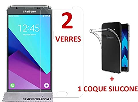 2 films vitres verres trempé + 1 coque gel silicone Samsung Galaxy J5 (2017) SM-J530F by Campus