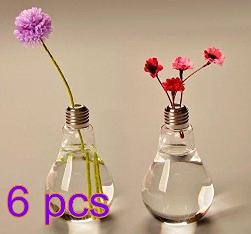 Cdet 6X Bombilla florero de vidrio floreros de terrario lindas macetas de vidrio de sobremesa moderno piso de la boda plantador de aire florero decorativo