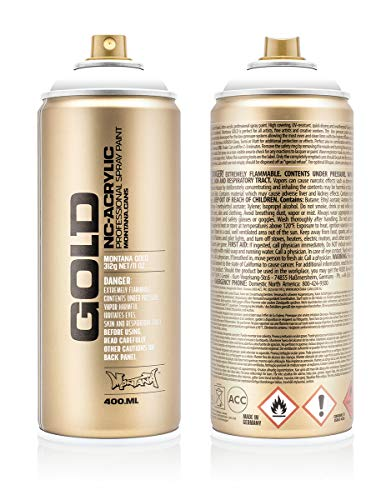 Montana Cans 285790 Montana Spray Dose Gold 400ml-SHOCK Colors, Gld400-s9100-Shock White
