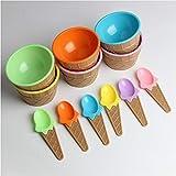 Colazione 6 pezzi 6 tazze di cialde for gelato a forma di gelato for bambini Set di ciotole e cucchiai da dessert, coppa for gelato in plastica a doppio spessore, stoviglie for bambini creative Serven