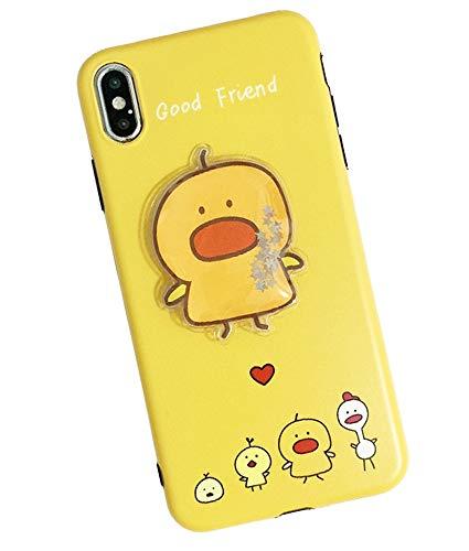 UnnFiko Schutzhülle für iPhone 7 / iPhone 8, 3D-Strasssteine, Punktemuster, luxuriös, Hartschale, iPhone 6 Plus / 6s Plus, Ente Gelb