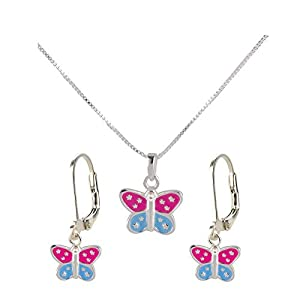 FIVE-D Set Kette Anhänger Kinder Ohrringe bunter Schmetterling aus 925 Sterling Silber in Geschenketui