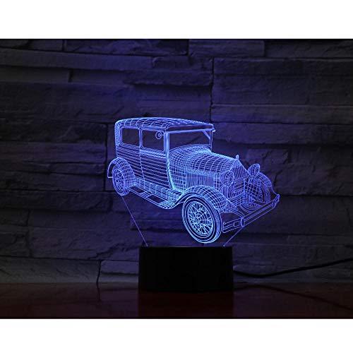 LED Auto 3D Nachtlicht Farbverlauf Jeep Form USB Nachttisch Schlafzimmer 3D Tischlampe USB Indoor Decor Atmosphäre Lampe Geburtstag neues Geschenk (Dunkelheit Perlen Der Leuchten In Glas)