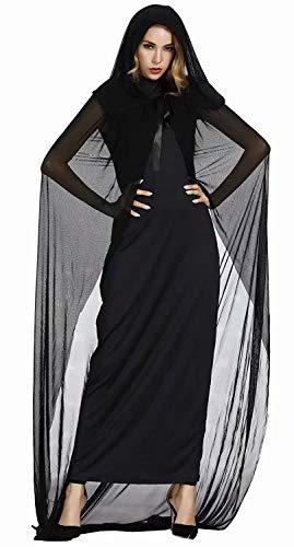 aizen Hexenkostüm Erwachsene Hexen kostüm lang edel mit Hut Damen Hexenkleid Fasching Halloween Cosplay Schwarz m