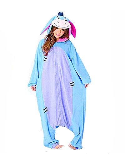 SAMGU Tier Onesie Pyjama Cosplay Kostüme Schlafanzug Erwachsene Unisex Animal Tieroutfit tierkostüme Jumpsuit Blauer Esel(Größe L) (Esel-kostüm Für Erwachsene)
