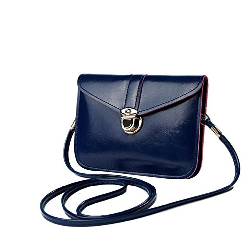Longra Donne singola spalla Mini retro diagonale cellulare borsa borsa zero Blu scuro