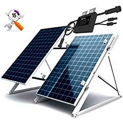 Kit Solar Autoconsumo 2 Placas 260W con Microinverter de 500W y Estructura Soporte de Aluminio para Las Placas e inversor.