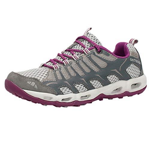 Deloito Damen Freizeit Turnschuhe Netz Sport Wander Schuhe Atmungsaktiv Fläche Laufschuhe Outdoor Lässige rutschfeste Sneakers (Grau,38 EU) -
