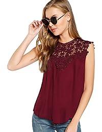 3a6286b3a07e ROMWE Damen Elegant Ärmellos Chiffon Bluse mit Blumen Spitze Shirt Oberteil  Bluse