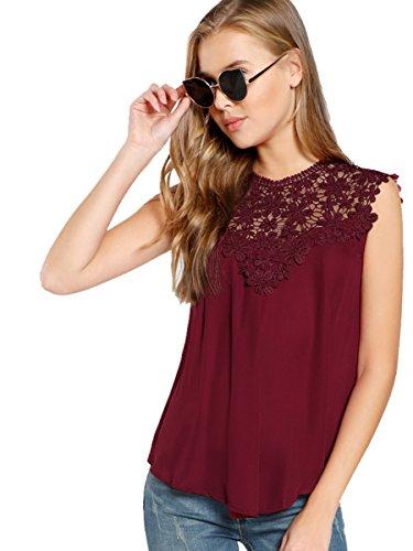 "Romwe Damen Elegant Ã""rmellos Chiffon Bluse mit Blumen Spitze Shirt Oberteil Bluse Burgundy XS"