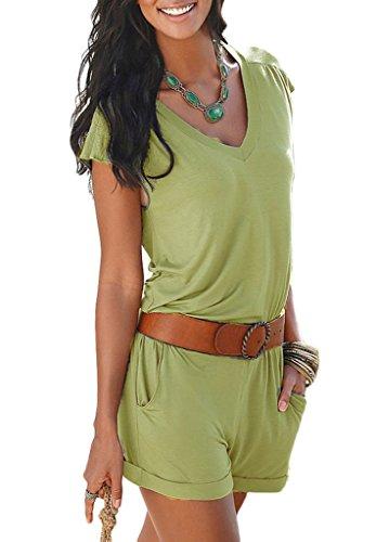 Bigood Femme Col V Combinaison Pantalon Couleur Uni sans Manche pour Plage Vert
