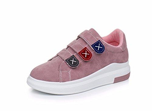 GTVERNH Damenschuhe/Sommer/Im Frühjahr Klett Sportschuhe Studenten Vorstand Schuhe Casual Schuhen.38 Weiße (White Satin Wedge Schuhe)