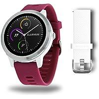 Garmin vívoactive 3 GPS-Fitness-Smartwatch – 24/7 Herzfrequenzmessung am Handgelenk, vorinstallierte Sport-Apps, integriertes GPS, Mobile Payment via NFC,Weiss-Silber, Armband Kirschrot