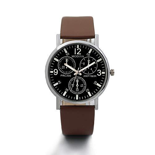 Uhren Herren DREI Augen Uhren Quarz Herrenuhr Blue Glas Belt Armbanduhr Luxury Kristall Uhr Gold Bracelet Quartz Wristwatch Rhinestone Watches mit Kunstleder Band,ABsoar (Cartier-augen-gläser)