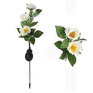 BONNIO Lily Flower Arreglo Floral Arreglo Floral Simulación Solar Arreglo Floral Enchufe Lámpara Led Lámpara Decorativa…