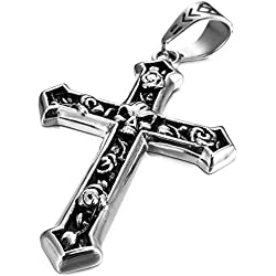 huoduoduo los Hombres Collar de Acero de Acero Colgante de Collar de Tono de Plata Cráneo Celta Medieval Crucifijo Cruz, Mujeres, con 58cm de Cadena