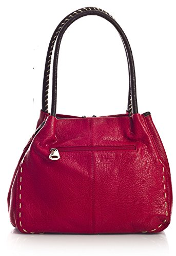 Grande borsa alla moda con tracolla e dettaglio bottone, in pelle sintetica, con sacchetto antipolvere e confezione regalo (Orange (ST432))
