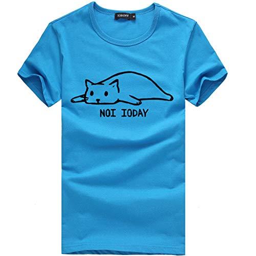 Kviklo Damen T-Shirt T-Shirt Buchstabe süße Katze gedruckt Baumwolle Kurzarm Tops Slouch Bluse(2XL(44),Blau) (Braune Slouch-stiefel Frauen)