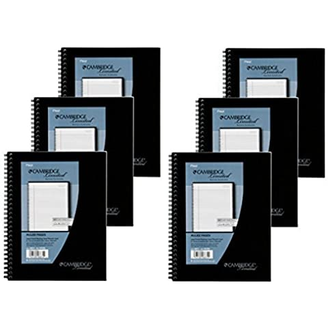Mead Cambridge Wirebound Business Notebook, Legal Rule, 6 5/8 x 9 1/2 Inches, 1 Subject, White, 80 Sheets per Pad (06672) Pack Of 6 by Mead