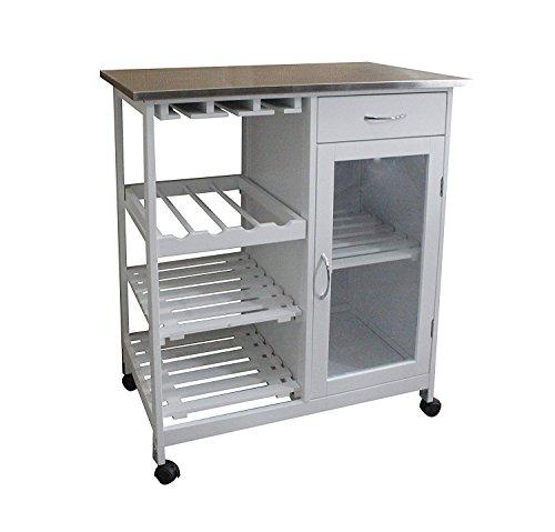 Happy Home Küchenwagen Wagen Esszimmer Mikrowelle Wagen mit abschließbaren Rollen Schubladen Weinregal Lagerschrank Aluminiumlegierung Arbeitsplatte