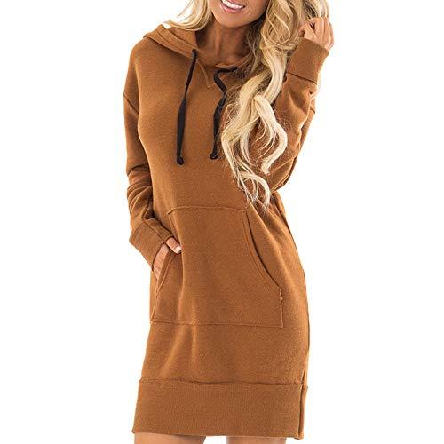Millenniums Sweats à Capuche Mini Robe avec Poche Épais Chaud Hiver Noël Confortable Pulls Streetwear Spotlight Chic Cool Street Fashion Sweat Mode Femmes Hiver Survêtement (M,42)