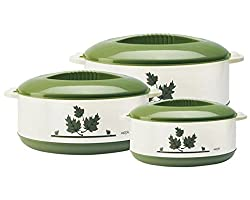 Milton Orchid Junior Insulated Casserole Set, 3,Pieces, Green ,(EC-THF-FTK-0016_GREEN)