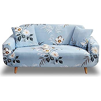 Universal Fitted Sofa Slipcover for Couch Furniture Protector HOTNIU Printed Stretch Sofa Cover Elastic Polyester Spandex Couch Covers 4 seat, Pattern Box