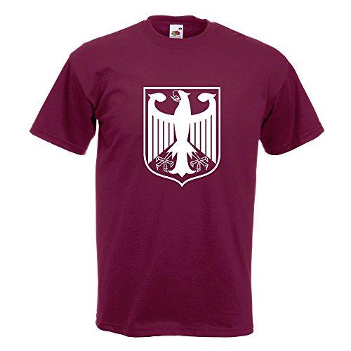 KIWISTAR - Bundeswappen Deutschland Rahmen T-Shirt in 15 verschiedenen Farben - Herren Funshirt bedruckt Design Sprüche Spruch Motive Oberteil Baumwolle Print Größe S M L XL XXL Burgund
