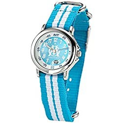 Olympique de Marseille Boys 'Watch - Analogue Quartz - Blue Dial - Bracelet - om8012 Nylon Bicolore