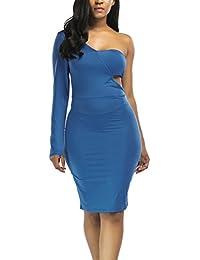HaiDean Abiti Donna Eleganti Da Cerimonia Da Sera Vestito Vintage Moda  Hipster Una Spalla Semplice Glamorous Obliquo Manica Lunga Slim… 3f3ed2dbd123